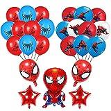 Nesloonp Piderman Ballon Deko für Kinder Superhelden Luftballons Superheld Spiderman Ballon Deko für Kinder Superhelden Geburtstag Partei Dekoration Plus Pumpe