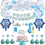 Herefun Schneeflocke Geburtstagsfeier Dekorationen, 78 Stück Schneeflocken Luftballons Frozen Party Geburtstag Deko Banner, Gefrorene Blaue & Weiße & Konfettilatex Ballone, Partyset Kindergeburtstag