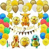 Herefun Luftballons Geburtstag, 91 Stück Luftballons Folienballons Ballons Deko, Latex Luftballons Partyballon Mit Bändern für Kindergeburtstag Party