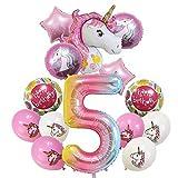 YSJSPOL Ballon 14pcs Geburtstags-Jungen-Mädchen Dekoration liefert Folienballons Set 32inch Mylar Luftballons Alles Gute zum Geburtstag Party (Color : 5th)