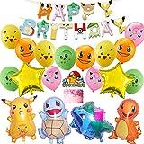 Pokemon Geburtstag Party Set, Pokemon Geburtstagsdeko mit Pikachu Banner Geburtstag Luftballons Pokemon kindergeburtstag deko für Kinder Geburtstag Partyzubehör