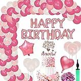 FORMIZON Geburtstagsdeko Mädchen, Geburtstagsdeko Rosa Happy Birthday Folienballons und Kuchenaufsätze Geburtstag Deko für Geburtstag, Hochzeit, Partys Dekorationen, Geburtstag Taufe