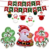 MASTARB - Weihnachten Ballons, [16 Zoll], Weihnachten Ballons Kit, Weihnachts Luftballons, Merry Christmas Banner für Party, Weihnachtsdeko Gross Folienballon, Weihnachtsmann Aluminiumfolie Ballon