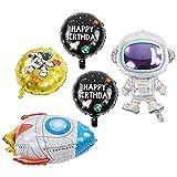 Sumoo Weltraum Luftballon Set-5pcs, Geburtstagsdeko Weltraum Geburtstag Party Dekoration Astronauten Raumschiff Raketen Folienballon, 4D Erdes Astronauten Ballons