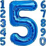 Luftballon 5. Geburtstag Zahl 5 Blau XXL Riesen Folienballon 100cm Geburtstagsdeko Jungen Ballon Zahl Deko zum Geburtstag. Fliegt mit Helium.