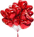 Sunshine smile 30Stück 21 Zoll Herz Folienballon Rot,Herzform Heliumballons,Herz Folienballon,Rote Love Luftballons,Herz Luftballon,Herzluftballons Helium Geeignet,Folienballon Rote Herz,Herz Ballons