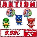 Generisch Pyjamahelden PJ Masks Folienballon Figuren 5er Pack mit Gekko Eulette & Catboy Ballon Luftballon Kindergeburttag 5 er Set Deko Kinder Party