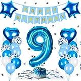 Geburtstagsdeko Jungen 9 Jahre, Luftballon 9 Deko zum Geburtstag, Happy Birthday Folienballon Dekoration Blau Junge