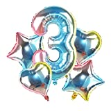 Yanqhua Ballon 5pcs / Set 32 '' Gradient Anzahl Folienballon 18 '' Stern-Herz Helium Globos for Geburtstags-Party-Dekoration 2020 Weihnachten Neujahr Ballon (Color : Cg0135pn 3)