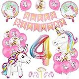 O-Kinee Einhorn 9 Geburtstag Deko, Luftballon 9. Geburtstag Rosa, 9 Ballon Einhorn Deko, Geburtstagsdeko Mädchen 9 Jahr, 9.Geburtstagsdeko Einhorn, 9.Geburtstagsdeko Mädchen, Ballon 9. Geburtstag