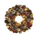 Künstliche Weihnachtskranz Deko LED Warm Christmas Wreath Decoration Künstlicher Kranz Weihnachten Künstliche Kranz Deko für Indoor Outdoor Parties Feste Halloween Weihnachten Deko Fensterdeko