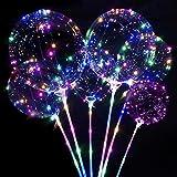6 Stücke Leuchtende Luftballons,Led Helium Ballons mit Ständer,LED Luftballon mit Stab,Led Ballon Bunt,Leuchtballons für Weihnachten&Hochzeit Deko,Halloween,Feierlichkeiten Party Luftballons
