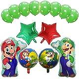 Mario Geburtstagsparty-Set, Luftballon Super Mario Mario Bros Folienballon Brüder Geburtstag Dekoration Kindergeburtstag Deko Happy Birthday Deko-Luftballon Balloons Set 15pcs