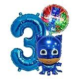 PJ Masks Catboy Geburtstags Deko Set, Zahl 3 Folienballon Luftballon Ballon Pyjamahelden Cat Boy Blaue PJ Mask Kinder Dekoration jungen und Mädchen (Zahl 3)
