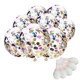 TankerStreet 20 Stück Konfetti Luftballons Jumbo Latex Ballon Klar Transparent Ballons mit Bunte Golden Folie Konfetti für Hochzeits Vorschlag Geburtstag Party Dekorationen
