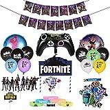 Gaming Deko, Tortendekoration, 99PCS Partyzubehör, Einschließlich Luftballons, Happy Birthday Banner, Tortenaufleger, Aufkleber und Partyarmband