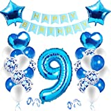 Happy Birthday Dekoration Zahl,Luftballon 9. Geburtstag Blau,Blau Luftballons Metallic,Happy Birthday Folienballon,Nummerndekoration,Riesen Folienballon,Happy Birthday Dekoration