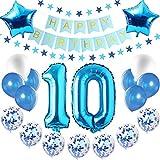 Blau Luftballons Metallic,luftballon 10. geburtstag Blau,Happy Birthday Folienballon,Happy Birthday Dekoration Zahl,Nummerndekoration,Riesen Folienballon,Happy Birthday Dekoration