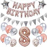 Ouceanwin 8. Geburtstag Dekoration Rosegold Kindergeburtstag Partyset, Riesen Luftballons Zahl 8, Folienballons Happy Birthday Banner, Wimpelkette Banner Silber, 8 Jahre Geburtstagsdeko für Mädchen