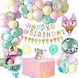 APERIL Geburtstagsdeko Maedchen, Latex Ballon mit Happy Birthday Banner, Konfetti Luftballons, EIS Folienballon, Geburtstag Luftballons mit Cake Topper Party tischdecken für Kinder Frauen Hochzeit