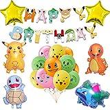Pokemon Kindergeburtstag Party Deko-Pokemon Pikachu Geburtstagsdeko mit HAPPY BIRTHDAY Banner Geburtstag Luftballons Pokemon Geburtstag Party Set für Kinder Partyzubehör