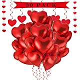 a ray of sunshine 30 Stück 18 Zoll Herzballons ,Herz Folienballon, Herzform Heliumballons für Party,Geburtstag,Valentinstag, Hochzeit, Verlobung,Muttertag Dekoration.