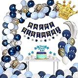 Geburtstagsdeko Junge, FIMOON Deko Geburtstag Blau mit Happy Birthday Banner Girlande Marineblau Luftballons Weißer Latex Ballon Folienballons, Party Deko Geburtstag Mann Junge Mädchen Mehrweg