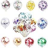50 Stück Konfetti Ballon Set - 12 Zoll mehrfarbige Pailletten Party Latex Ballons, geeignet für Kinder Geburtstagsfeiern, Hochzeiten, Weihnachten und Neujahr, Babyparty Geburtstagsfeier Dekorationen