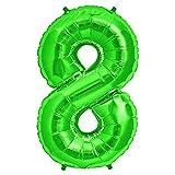 FUNXGO Folienballon Zahl in Grün - XXL / ca.100cm Riesenzahl Ballons - Folienballons für Luft oder Helium als Geburtstag, Hochzeit , Jubiläum oder Abschluss Geschenk, Party Dekoration (Grün [8])