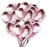 50 Stück Herz Ballons 18 Zoll Heliumballon Herz Folienballon Herzluftballons Helium Luftballons Folienluftballon Geeignet für Hochzeit, Brautdusche, Valentinstag, Geburtstag, Party Deko (Roségold)