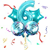 Xinqin Meerjungfrau Luftballon 6, Zahlenballon Helium Luftballon Nummer Folienballon Riesenzahl 6 Meerjungfrau Ballon, Folienzahlen Ballons für Geburtstag, Hochzeit, Jubiläum Party Dekoration
