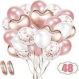 Rosegold Luftballon Set, 48 Stück Folienballon Set, Konfetti Luftballons ; Latex Ballons mit Bändern für Geburtstag, Hochzeit, Babyparty, Dekoration, Geschäftstätigkeit
