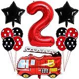 Liitata Feuerwehr Luftballon Set 2. Geburtstag Deko 40 Zoll Zahl 2 Folienballon Rot Feuerwehrauto Ballon Stern Ballon Punkt Latexballon für Kinder Junge Mädchen Geburtstag Party Kindergarten Partydeko