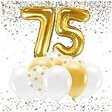 Feste Feiern Party-Deko zum 75. Geburtstag Gold Metallic Zahl 75 Set 86cm Zahlenballon Luftballon Folienballon 75ter Goldene Sterne weiß Glanz 21 Teile Dekoration Happy Birthday Jubiläum