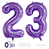 Xihuimay 40' Nummer 23 Folienballon Zahl 23 Luftballon Ziffer 23. Geburtstag Ballon 100cm Riesen Ballons Luft oder Helium Digitaler Ballon für Mädchen Junge Jubiläum Feierliche Anlässe, Lila XXL