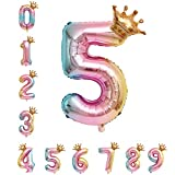 40 Zoll 0 - 9 XXL Regenbogen Zahlen Folien Luftballon, 100 cm Riesenzahl 5. Jahr Geburtstagsdeko Helium Ballon, Rosa Folienballon für Junge Mädchen Geburtstag, Hochzeit, Jubiläum Party Dekoration