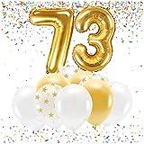 Feste Feiern Party-Deko zum 73. Geburtstag Gold Metallic Zahl 73 Set 86cm Zahlenballon Luftballon Folienballon 73ter Goldene Sterne weiß Glanz 21 Teile Dekoration Happy Birthday Jubiläum