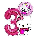 Hello Kitty Girls Geburtstags Set 1-8 Folienballon Riesenzahl Zahl Kindergeburtstag Geburtstag Folien Ballon Hello Katze Kitty Kinder Party Rosa Pink Dekoration Deko (Zahl 3)