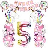 iWheat Luftballon 5. Geburtstag Rosa, Einhorn Deko 5. Kindergeburtstag, Einhorn Geburtstagsdeko 5 Jahr Mädchen, Geburtstags Deko Mädchen 5 Jahr, Riesen Folienballon Zahl 5, Happy Birthday Banner