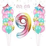 Luftballon 9. Geburtstag Rosa,Kindergeburtstag Deko Mädchen 9 Jahr Ballons,Riesen Bunt Folienzahlen Ballons,Geburtstagsdeko 9 Jahr Mädchen