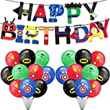 Yisscen Superhelden Party Ballons, Geburtstags Dekoration Luftballons, Superhelden Geburtstag Girlande Banner, Superheld Luftballons für Kinder Geburtstagsfeier Dekorationen