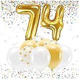 Feste Feiern Party-Deko zum 74. Geburtstag Gold Metallic Zahl 74 Set 86cm Zahlenballon Luftballon Folienballon 74ter Goldene Sterne weiß Glanz 21 Teile Dekoration Happy Birthday Jubiläum