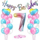 Luftballons 7 Geburtstag Rosa, AivaToba Geburtstagsdeko Mädchen 7 Jahre, 7.Geburtstag Mädchen Deko, Happy Birthday Girlande Riesen Folienballon 7 Rosa,Zahlen Ballon 7 Deko zum Geburtstag