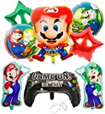 Miotlsy Ballon XXL Folienballon Luftballon Super Mario Folienballon Kindergeburtstag Deko Mario Bros Brüder Geburtstag Dekoration Set Happy Birthday Deko-Luftballon Balloons 9pcs