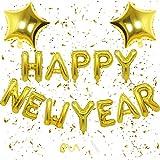 Happy New Year Ballon Banner, Happy New Year Luftballon Dekoration, Neues Jahr Dekoration der Weihnachtsfeier, Happy New Year Folienballon für Weihnachten Deko(Bunt)