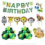 HONGECB Dschungel Geburtstag Luftballons, Folienballon Tiere, Happy Birthday Girlande, Latex Luftballons, Geburtstag Dekorationen, für Kindergeburtstag, Baby Party, Safari Party Deko