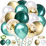 60 Stück Luftballons Grün White Gold Ballons, Metallischen Grüne Luftballons für Taufe Kinder Kindergarten Geburtstagsdeko Kindergeburtstag Dschungel Party Deko Safari Geburtstag Dekoration