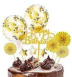 Xinmeng Gold Kuchen Topper Kuchendekoration Geburtstag Tortendeko Happy Birthday Cupcake Topper mit Sternen Konfetti-Luftballons und Papierfächer für Geburtstagsfeier Dekoration