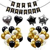 Aapxi Geburtstagsdeko 56 Stück Luftballons Gold Weiss Schwarz Konfetti - 4 Stück Herz Stern Folienballon - Mädchen Jungen Happy Birthday Banner 10m Schnur mit 2 Rollen(Luftballon-Geburtstagsset-B)