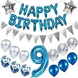 Ouceanwin 9. Geburtstag Dekoration Blau Kindergeburtstag Partyset, Riesen Luftballons Zahl 9, Folienballons Happy Birthday Banner, Wimpelkette Banner Silber, 9 Jahre Geburtstagsdeko für Junge